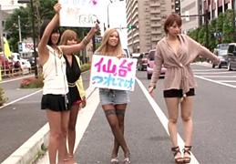 目指せ仙台!ギャル4人が所持金0円でビッチハイク旅!
