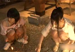 キャンプ場で無邪気に遊ぶ上司の娘を姉妹丼!