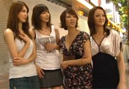 モデル級の美人お姉さん4人が街に繰り出し逆ナン!